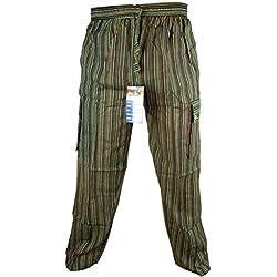 LITTLE KATHMANDU - Pantalones sueltos de verano de algodón para hombre, cintura elástico verde Striped Green XXXL