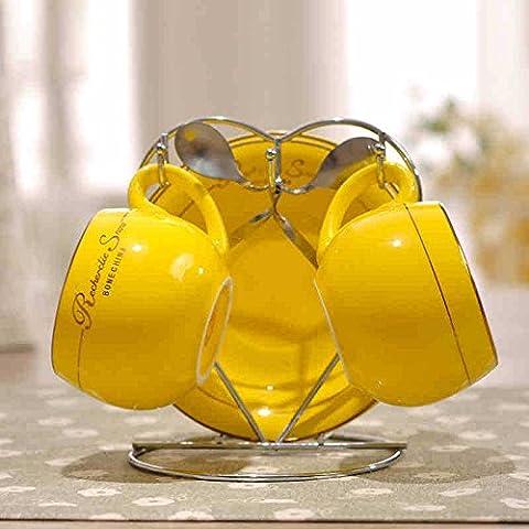MSRRY In stile europeo bone china tazza da caffè del kit coppa coppe in ceramica di amanti del caffè l'acqua alta ciotola 2 , Kit giallo
