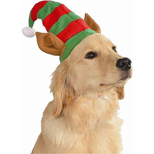 Elf Helper Santa's Kostüm - MyPartyShirt Elf Hat mit Ohren Haustier Kostüm Hund Weihnachten Santa 's Helper Puppy Katze, Medium/Large, Mehrfarbig