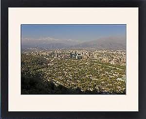 Tableau encadré de vue aérienne de Santiago de Chile, South America