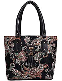 jsm fashion stylish and beautyful college girls black multy color handbag for women and girls