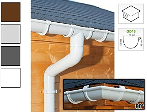 Plastic guttering kit for hipped roof (4 roofsides)   GD16   in 4 colours! Ideal for summer house or log cabin! (All-in-one set max. perimeter 14,00 m,