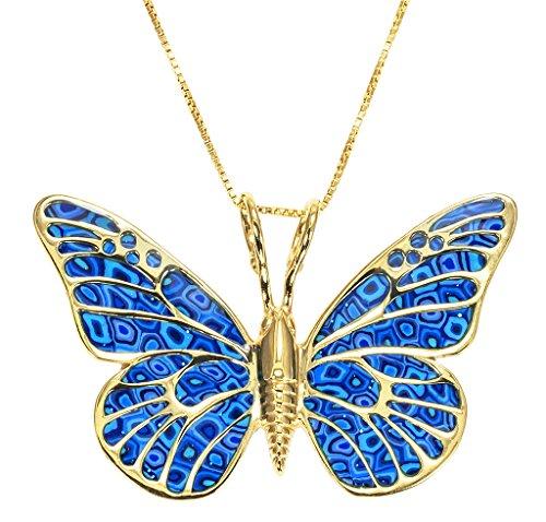 Collier Pendentif Papillon - Bijoux Fimo et Argent fin Plaqué Or fait main, Chaine en Or Laminé 42cm Bleu