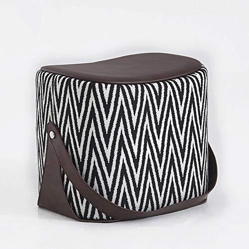 erne Sattel Sofa Hocker Mode Persönlichkeit Kind Fußhocker Wohnzimmer Schuhe Bank PU Leder Dressing Stuhl Block Erwachsene Couchtisch Sitz Mit Griff (Color : Style C) ()