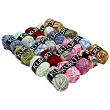 Kurtzy 20 Piece Multicolour Knitting Crochet Yarn Set by Assortment Colourful Acrylic Soft Yarn - Thick Yarn Multicolour Bundle for Knitting Jumpers, Cardigans, Clothes, Blankets and More