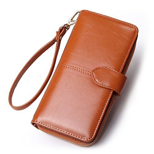c838285ef8 Mailo Multicarta di posizione due pieghe cerniera portafoglio a lungo con  cerniera a lungo in pelle di modo della borsa 95x19x4 cm Dark Blue marrone