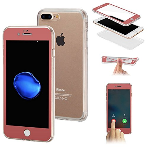 iPhone 6 Cover, iPhone 6S Custodia Trasparente, JAWSEU [360 gradi Full Body][Protezione Completa] Flessibile Silicone Custodia fronte e retro per Apple iPhone 6/ iPhone 6S Coperture Cover Case Caso Go Oro Rosa