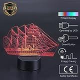 LED Lampe de chevet Acrylique 3D USB Lumière de nuit 7 Couleurs Bateau à voiles Décoration maison Cadeau Noël fête enfants amies 20*13cm...