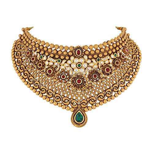 WHP Jewellers 22k (916) Yellow Gold and Emerald Choker Necklace