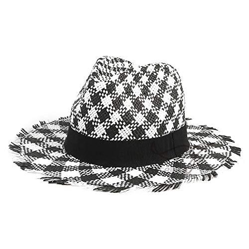 VISER Sommer Unisex im italienischen Stil Retro Natural Cowboy Cowboyhut mit schwarzem Seil Atmungsaktive Visier Formbare Krempe Cowboy Western Aussie Style Strand Sonnenhut Grau Plaid Headwear - Aussie-cowboy-hut