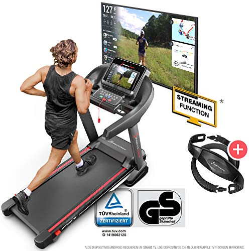 Sportstech F37 Cinta Correr Plegable Profesional con certificación TÜV/GS, Velocidad hasta 20 km/h,Sistema de amortiguación de hasta 150 kg, inclinación del 15{b33742088f9365875213680612e0b20a08be2cd5d199827580b39c1488e4a592}, App. Kinomap Comp, MP3