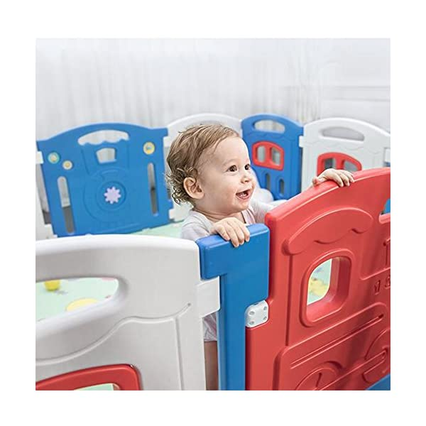 MEI XU Indoor Baby Playpens Safety Fence,Safety Indoor Fence Children's Play Fence Infant Crawling Toddler Guardrail Toy (Size : 196.5 * 238cm) MEI XU COVERS A LARGE AREA: It is a great amount of space for baby to learn walk and even laying with baby in it for play time. EASY TO ASSEMBLE: It is lightweight, easy to put together and take down, without 15 mins. SAY NO TO ANIMAL PEN: Bright and colorful design make the fence look more lovely in order to attract children and energize their mood automatically. 4