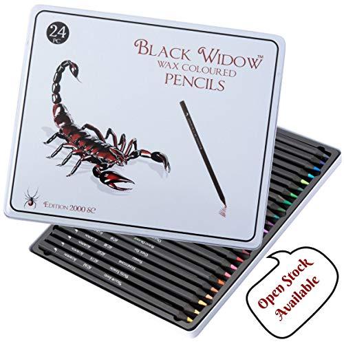 Black Widow ® Bunte Malstifte für Erwachsene, das beste Malstiftset für Malbücher für Erwachsene, Ein hochwertiges 24-teiliges Schwarzholz-Malstiftset für Ihre Malbücher.