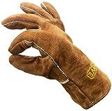 COSYSTOVE piel Alta calidad pesado deber resistente al calor guantes de seguridad para diseño de multi-fuel estufas de madera Protección de temperatura y ceniza barbacoa chimenea de carbón