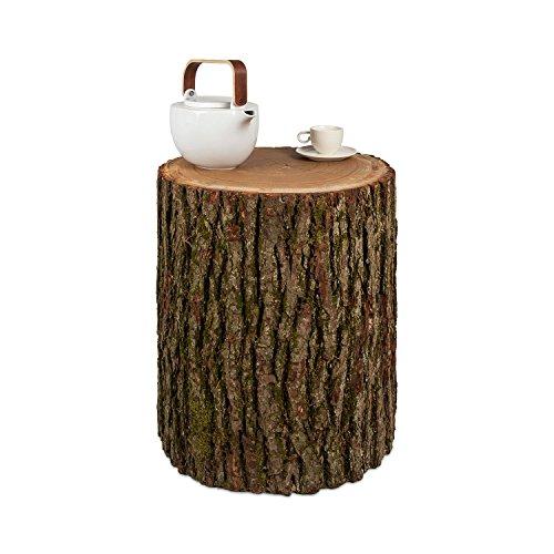 GREENHAUS Baumstamm Beistelltisch mit Rinde 30-35 cm Eiche massiv Handarbeit und Massivholz aus Deutschland Couchtisch