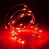 MASUNN 5M 50 LED Silver Wire Fairy String Light Batterie betrieben wasserdicht Xmas Party Dekor-rot
