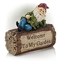 ‏‪Alpine Corporation WAC200 Gnome and Welcome Sign Statue Outdoor Garden, Patio, Deck, Porch-Yard Art Decoration, 9-Inch Tall, Multicolor‬‏