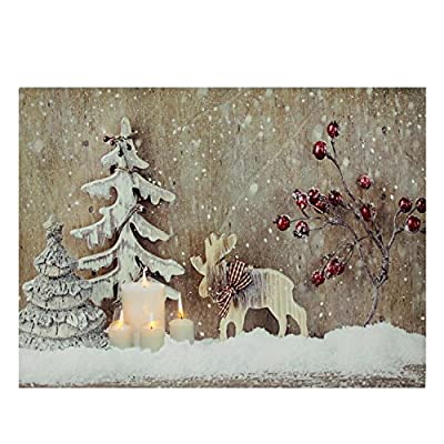 """LED Lighted Rustic Reindeer, Candles & Berries Christmas Canvas Wall Art 12"""" x 15.75"""" - inexpensive UK light shop."""