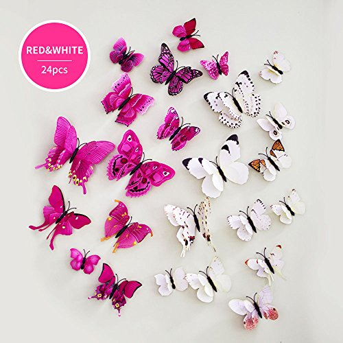 Elimit 3D Schmetterling Wand Aufkleber Kühlschrank Magnete 48Pcs PVC Kühlschrank Magnete mit Magnet für die Wall Decor Art Crafts Home Party Raum Dekoration 4Farben Weiß/Rosa (Gelbes Schmetterlings-wand-aufkleber)