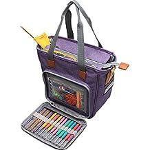 Luxja bolsa de tejer, bolsa para labores, almacenamiento de ovillos, Puntos Organizador para Tejer (Sin Accesorios),Violeto