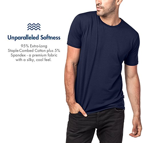 Lapasa 2er Pack Herren T-Shirts - Premium els Baumwolle - Business Kurzarm Unterhemd mit Rundhalsausschnitt für Männer M05 Navy Blau