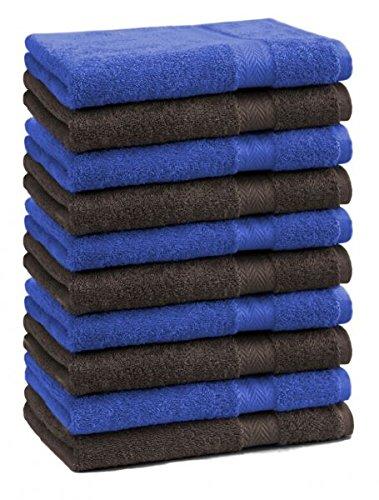 Betz lot de 10 serviettes débarbouillettes taille 30x30 cm 100% coton Premium couleur bleu royal et marron foncé