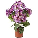 Artif-deco - Hortensia artificiel en pot leste violet h 45 cm 117 fleurs 5 tetes - choisissez votre coloris: violet
