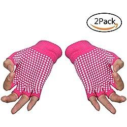 Yoga guantes, sin dedos agarre antideslizante Pilates Barre ejercicio guantes de algodón para pantalón y entrenamientos, Unisex- 2pcs Rosa