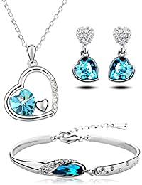 Crunchy Fashion Combo Crystal Pendant Necklace Set With Earrings And Bracelet For Women