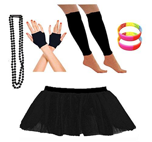 REDSTAR Fancy Dress® Neon Tutu Skirt Leg Warmers Short Fishnet Gloves Necklace Beads and 2X Free Neon Wrist Bands (14-22 UK, Black)