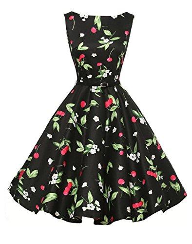 Retro War Dünne Taille Große Schaukel Kleid Black