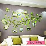 3D Stereo Acrylbild Baum Wohnzimmer Sofa Wand, hellgrün links, Ultra klein