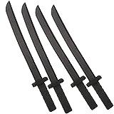 Katara 1771 - Schwarze Schaumstoffschwerter Set (4 Stück), Ninja Kostüm Verkleidung – Ungefährliches Accesoire (55 cm)