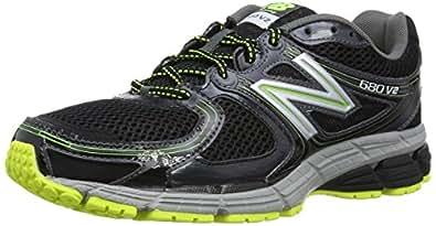 New Balance 680v2, Men's Running Shoes, Black/Yellow 7 UK