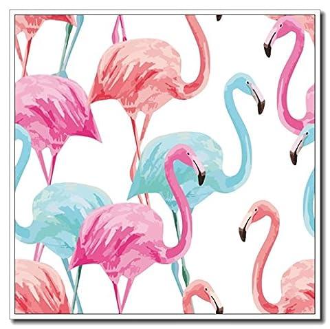 Haehne Modern Flamingos Toiles en coton Impression Oeuvres Peintures à l'huile Photo Imprimé sur toile Art mural pour les décorations maison à la chamber, 40 *40cm(16* 16Inch),Image seulement