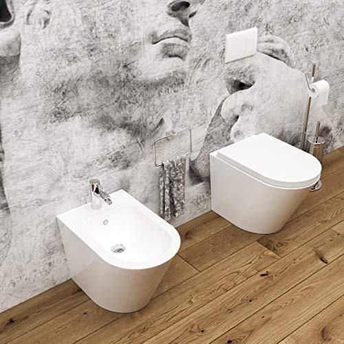 Sanitari bagno filomuro a terra Bidet e Vaso WC ARCO in ceramica con sedile coprivaso softclose
