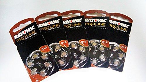RAYOVAC Extra Piles pour Appareil auditif Taille 312 Lot de 5 Paquets de 6