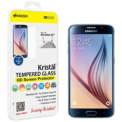 Amzer Kristal Tempered Glass HD Screen Protector for Samsung Galaxy S6 SM-G920F