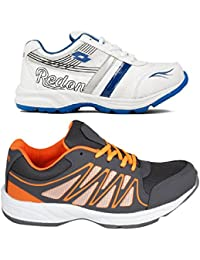 Redon Men's Pack Of 2 Sports Running Shoes (Running Shoes, Jogging Shoes, Gym Shoes, Walking Shoes) - B074HGSPD8