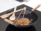 Große Flach Boden Wok Pfanne Set Chinese Braten Topf mit Speisen Rack & Zubehör