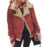 ESAILQ Winter Frauen Faux Fleece Mantel Outwear warme Revers Biker Motor Aviator Jacke(XXXX-Large,Rot)