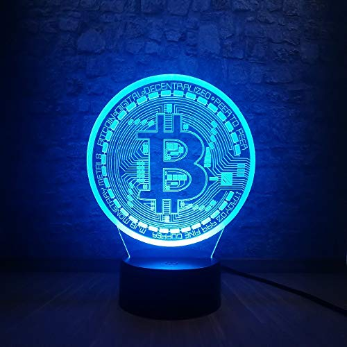 YDZJ 3D Illusion Acryl LED Farbe Nachtlicht, bitcoin Technologie Skulptur Leuchtturm Heimtextilien, USB-Ladegerät + Batterie, Spielzeug Geschenk Geburtstag (Bitcoin-technologie)