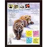 ArtzFolio Brown Bears In The Snow Printed Bulletin Board Notice Pin Board cum Dark Brown Framed Painting 12 x 15.2inch