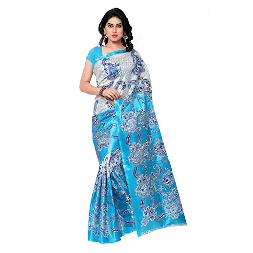 1 Stop Fashion Sky Blue Color Tapeta Silk Digital Printed Saree  available at amazon for Rs.299