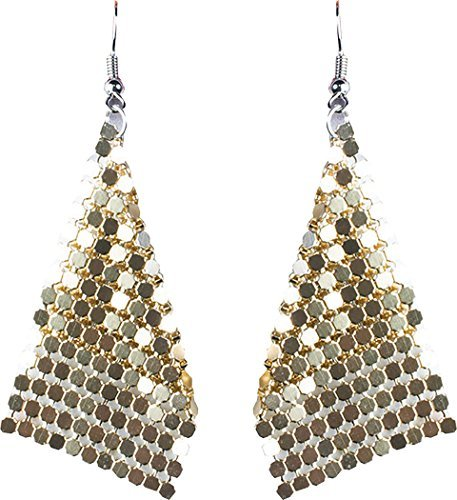 Damen 1970s Jahre Disco Party Zubehör Kostüm Kostüm Schmuck Diamant-Ohrringe - Gold, One ()