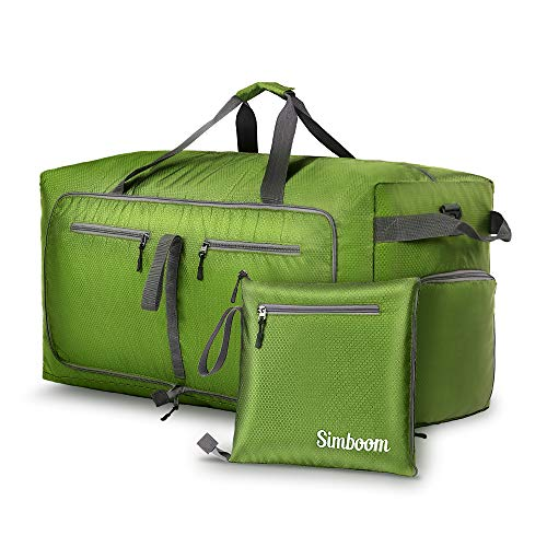 Simboom Faltbare Reisetasche für Männer und Frauen, 100L Wasserdicht Reise-Gepäck Sporttasche Leichter Duffel Taschen mit schuhfach für Gepäck Reise Sport Gym Urlaub, Grün