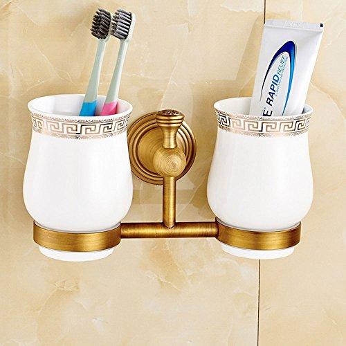 Tasse à brosse à dents complète en cuivre Création créative européenne antique rinse cup salle de bain, 10.5 * 21cm