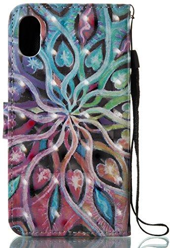 iPhone 10 iPhone X Hülle, Nnopbeclik Ultra Slim Fit, Kickstand, Card Slot, Anti-Rutsch Soft TPU Stoßfänger, Sonnenblumen Flip Leder PU Wallet Case für iPhone 10 iPhone X 5,8 Zoll Blumen A