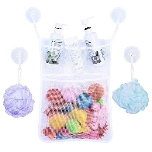 BrilliantDay Perfektes großes Bad Spielzeug Netz für Badewanne Spielzeugnetz & Badezimmer Lagerung mit 2 Ultra Strong Hooked Saugnäpfe Mesh Bad Spielzeug Organizer#1