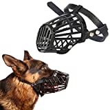 #9: Anokhe Collections Adjustable Muzzle cum Mouth Cover / Basket Cage Collar for Puppy / Dog / Cat (Black - Medium)